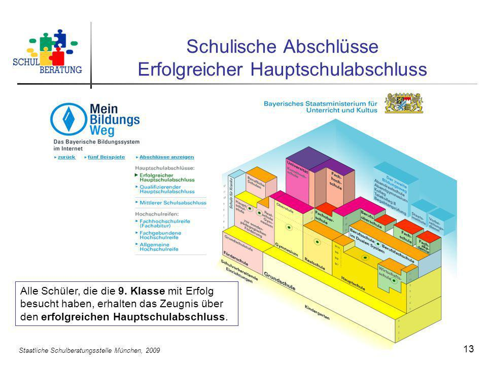 Staatliche Schulberatungsstelle München, 2009 13 Schulische Abschlüsse Erfolgreicher Hauptschulabschluss Alle Schüler, die die 9. Klasse mit Erfolg be