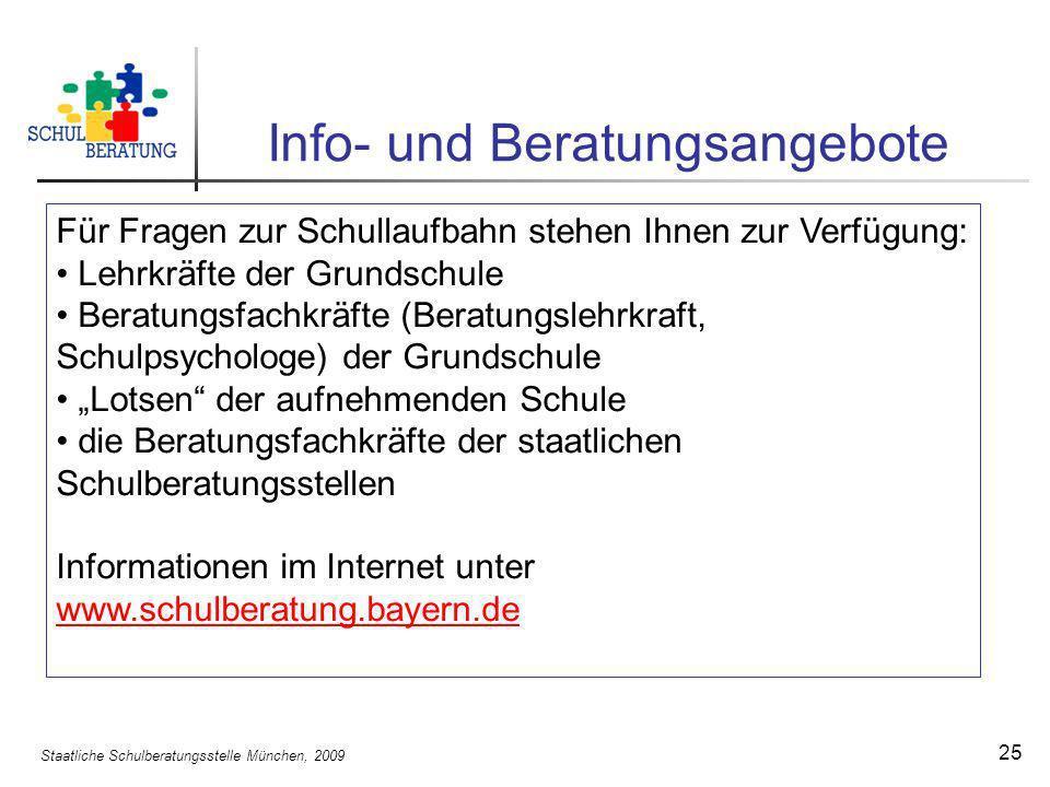 Staatliche Schulberatungsstelle München, 2009 25 Info- und Beratungsangebote Für Fragen zur Schullaufbahn stehen Ihnen zur Verfügung: Lehrkräfte der G