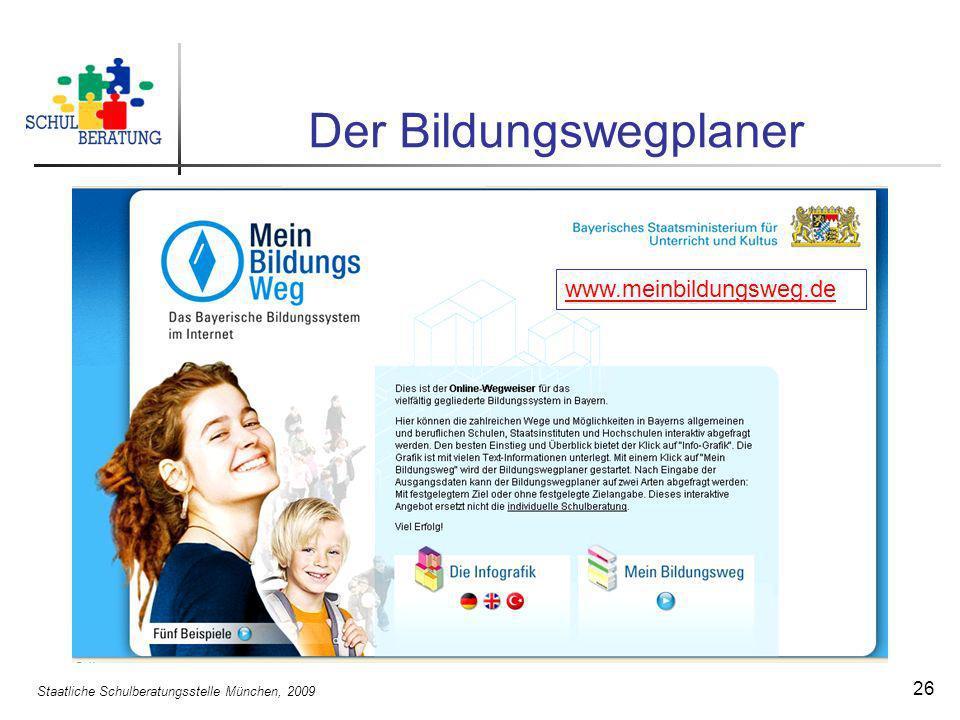 Staatliche Schulberatungsstelle München, 2009 26 Der Bildungswegplaner www.meinbildungsweg.de