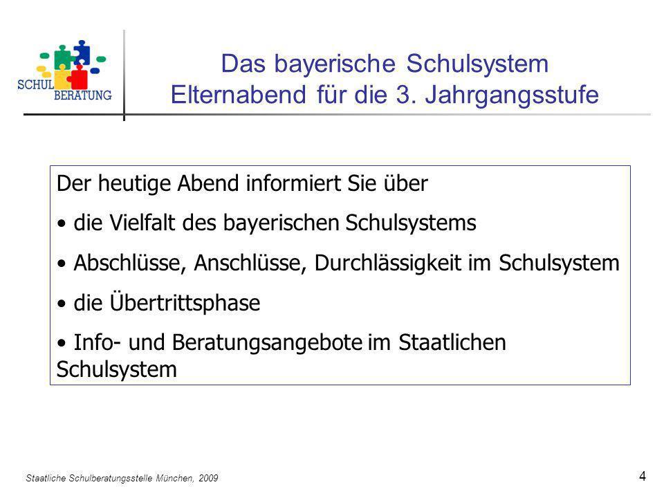 Staatliche Schulberatungsstelle München, 2009 4 Das bayerische Schulsystem Elternabend für die 3. Jahrgangsstufe Der heutige Abend informiert Sie über