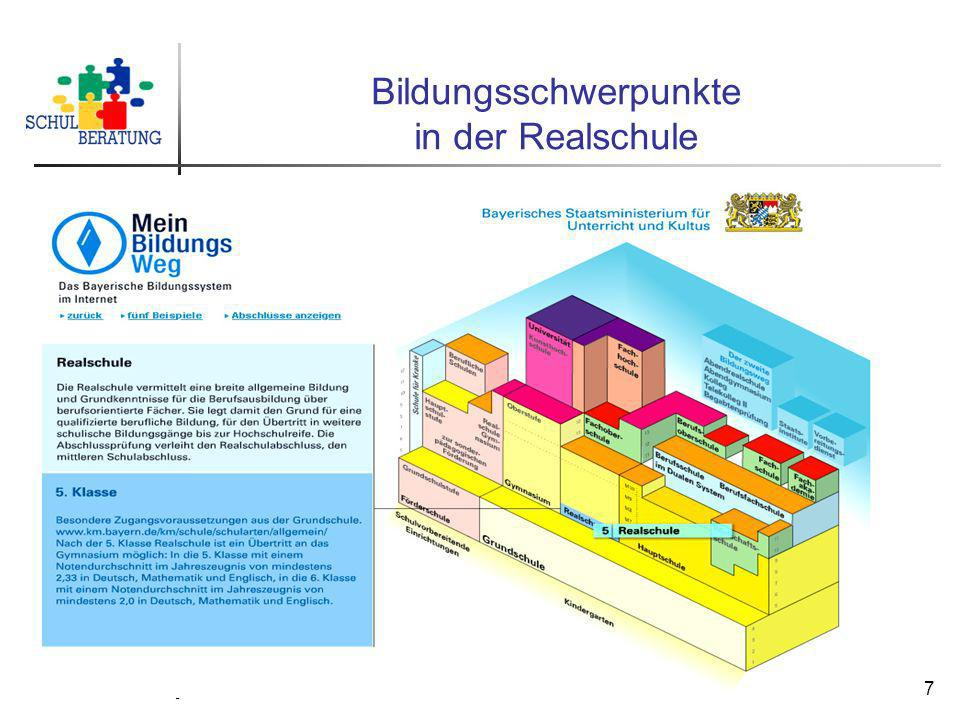 Staatliche Schulberatungsstelle München, 2009 7 Bildungsschwerpunkte in der Realschule