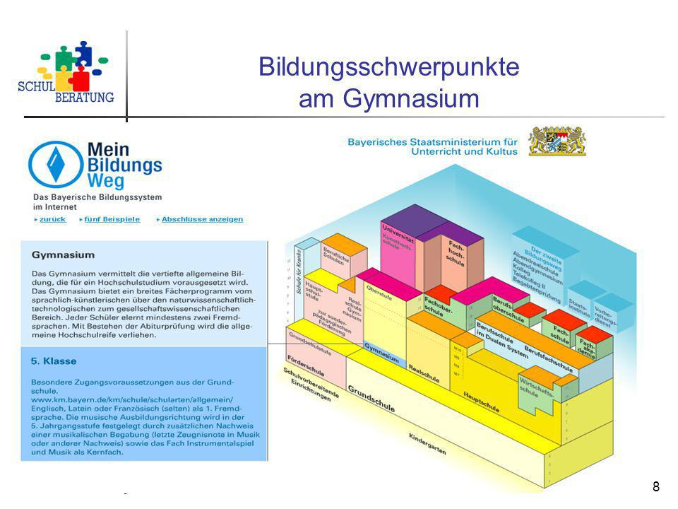 Staatliche Schulberatungsstelle München, 2009 19 Durchlässigkeit im Schulsystem Übergangshilfen - Brückenangebote Bedeutsam für die Durchlässigkeit sind die Angebote von Übergangshilfen zum Ausgleich unterschiedlicher Ausbildungsschwerpunkte: Einführungsklassen (10.