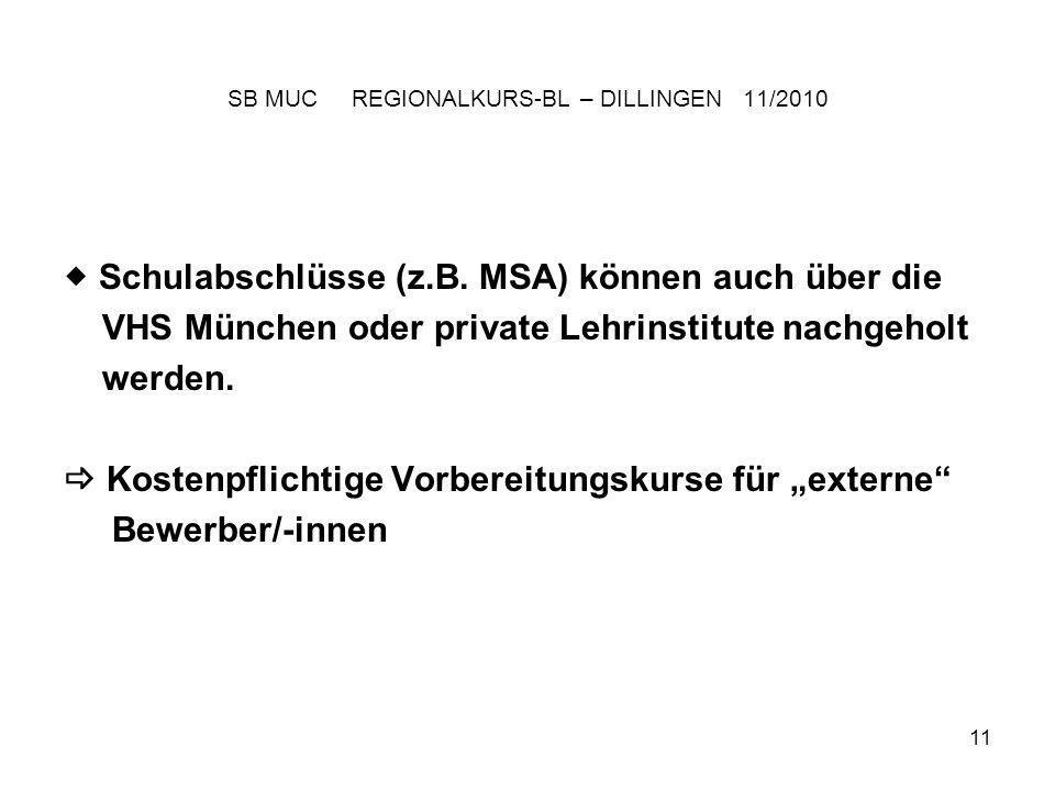 11 SB MUC REGIONALKURS-BL – DILLINGEN 11/2010 Schulabschlüsse (z.B.
