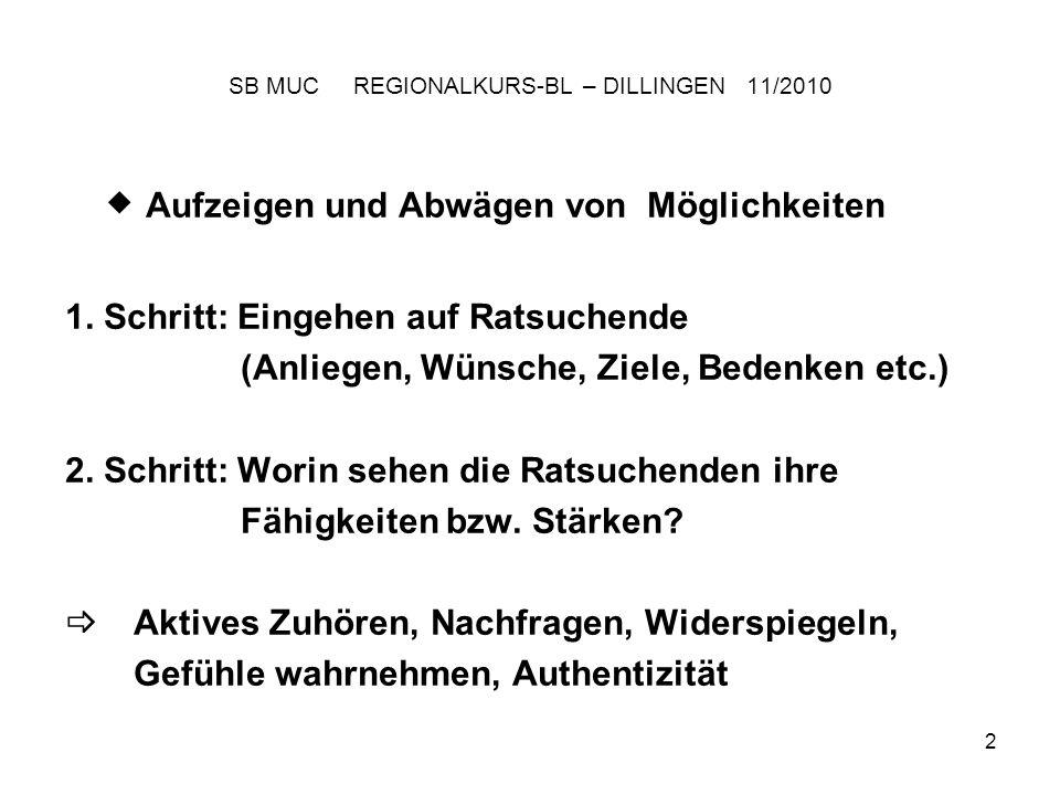 3 SB MUC REGIONALKURS-BL – DILLINGEN 11/2010 Vorrücken auf Probe (5–9 keine Notenbindung!) bzw.