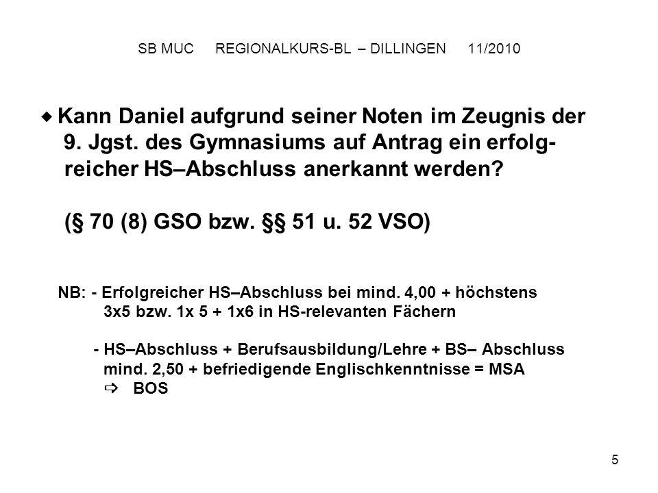 5 SB MUC REGIONALKURS-BL – DILLINGEN 11/2010 Kann Daniel aufgrund seiner Noten im Zeugnis der 9.