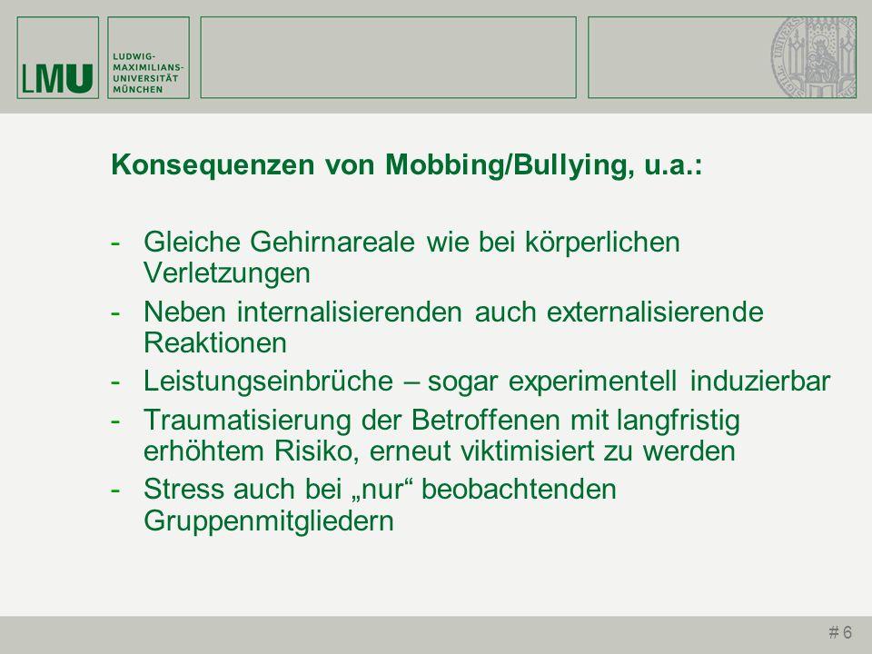 # 6 Konsequenzen von Mobbing/Bullying, u.a.: -Gleiche Gehirnareale wie bei körperlichen Verletzungen -Neben internalisierenden auch externalisierende
