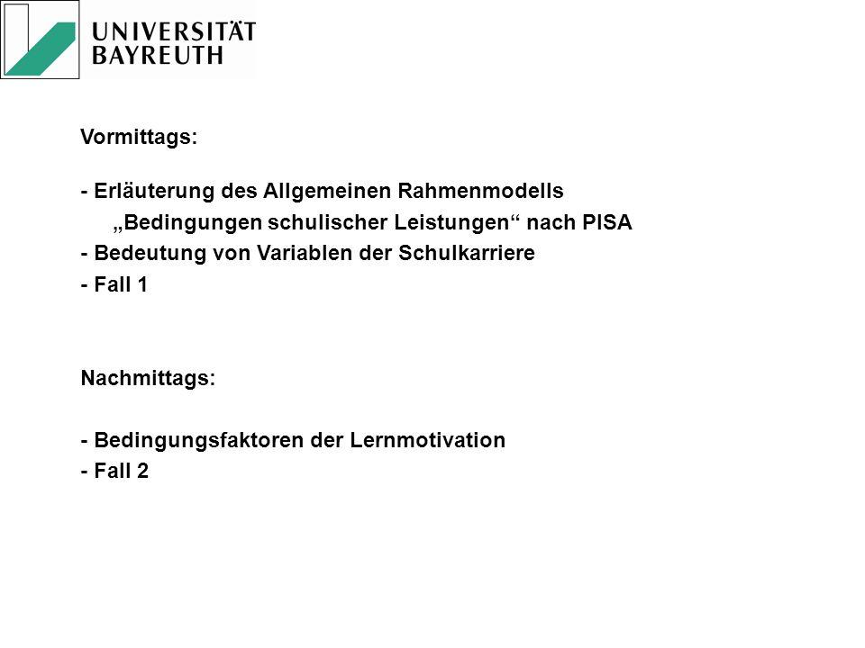 Vormittags: - Erläuterung des Allgemeinen Rahmenmodells Bedingungen schulischer Leistungen nach PISA - Bedeutung von Variablen der Schulkarriere - Fal