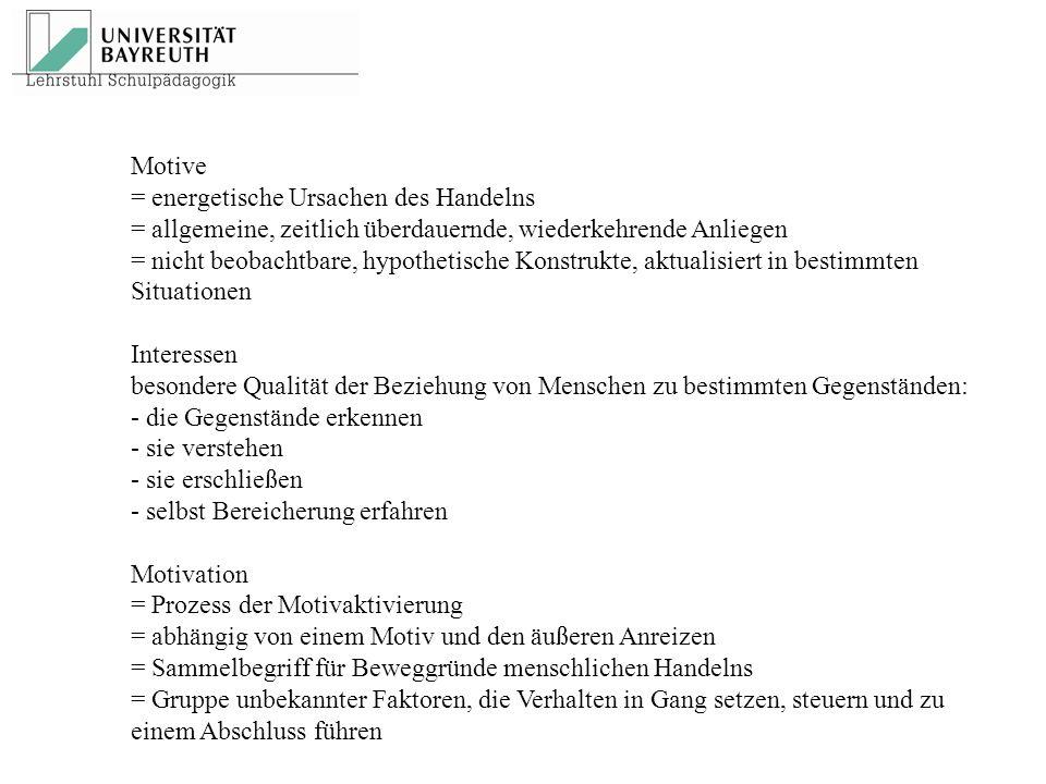 Motive = energetische Ursachen des Handelns = allgemeine, zeitlich überdauernde, wiederkehrende Anliegen = nicht beobachtbare, hypothetische Konstrukt