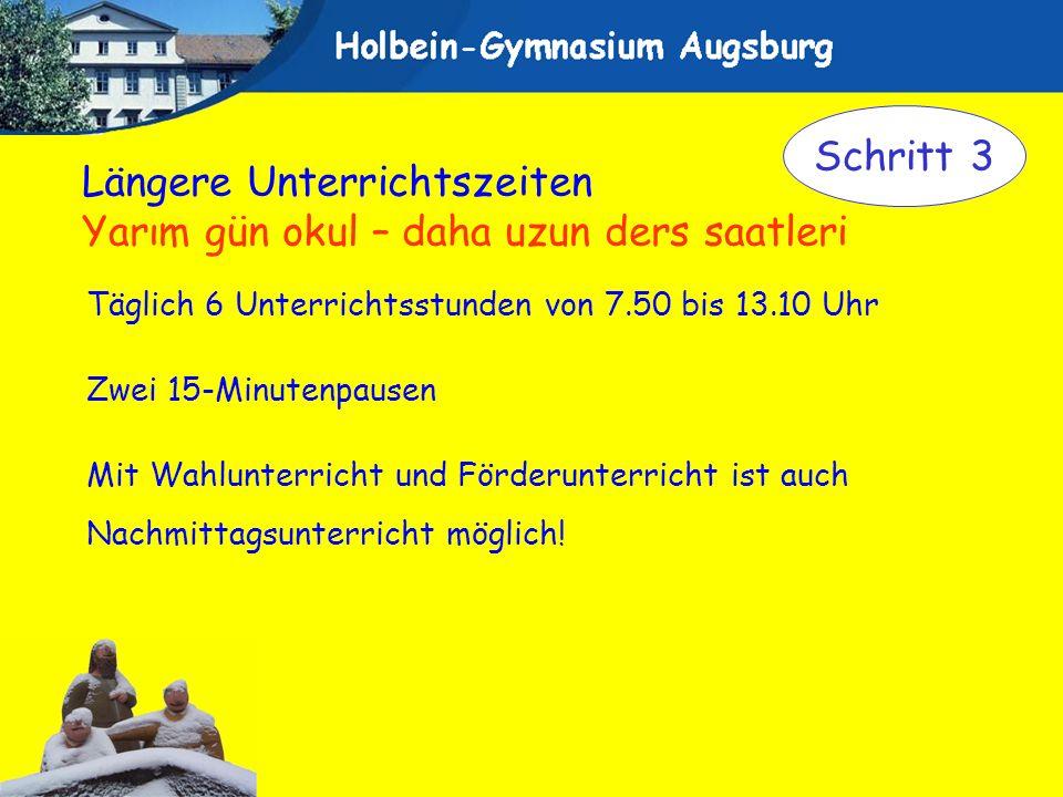 Täglich 6 Unterrichtsstunden von 7.50 bis 13.10 Uhr Zwei 15-Minutenpausen Mit Wahlunterricht und Förderunterricht ist auch Nachmittagsunterricht mögli