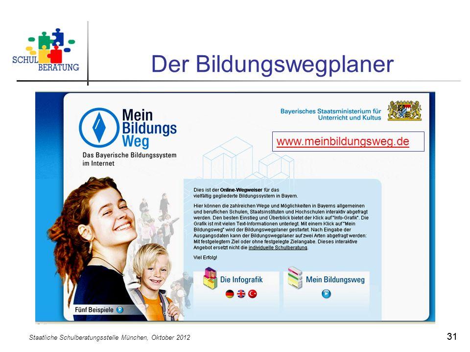Staatliche Schulberatungsstelle München, Oktober 2012 31 Der Bildungswegplaner www.meinbildungsweg.de