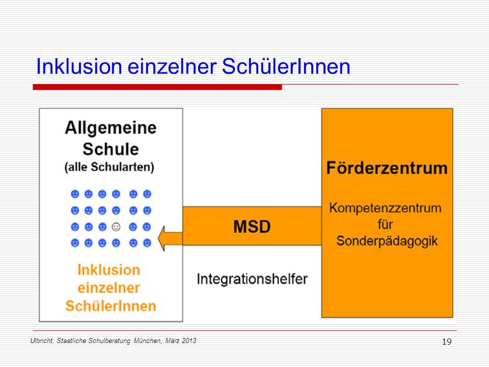 Ulbricht, Staatliche Schulberatung München, März 2013 19 Inklusion einzelner SchülerInnen