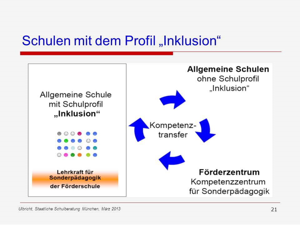 Ulbricht, Staatliche Schulberatung München, März 2013 21 Schulen mit dem Profil Inklusion