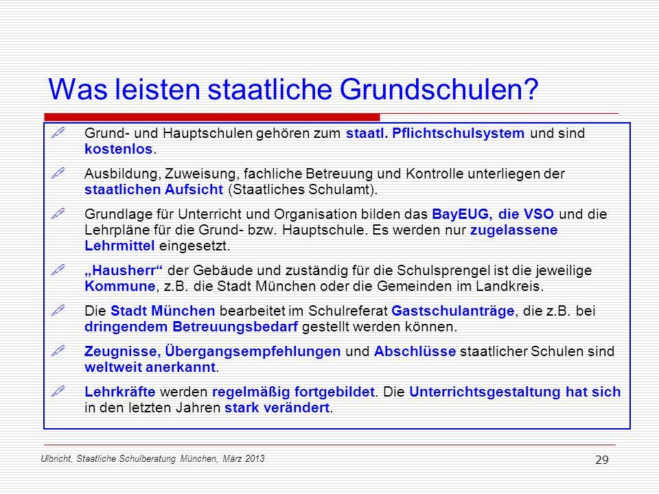 Ulbricht, Staatliche Schulberatung München, März 2013 29 Was leisten staatliche Grundschulen? Grund- und Hauptschulen gehören zum staatl. Pflichtschul