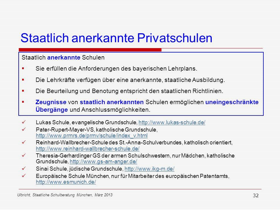 Ulbricht, Staatliche Schulberatung München, März 2013 32 Staatlich anerkannte Privatschulen Staatlich anerkannte Schulen Sie erfüllen die Anforderunge