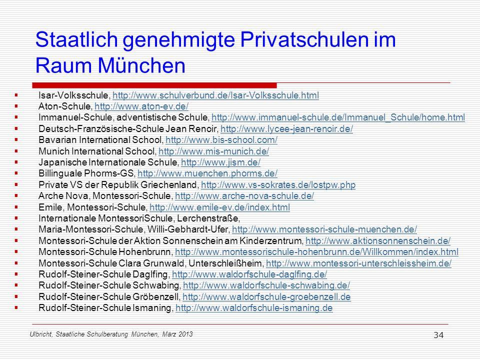 Ulbricht, Staatliche Schulberatung München, März 2013 34 Staatlich genehmigte Privatschulen im Raum München Isar-Volksschule, http://www.schulverbund.