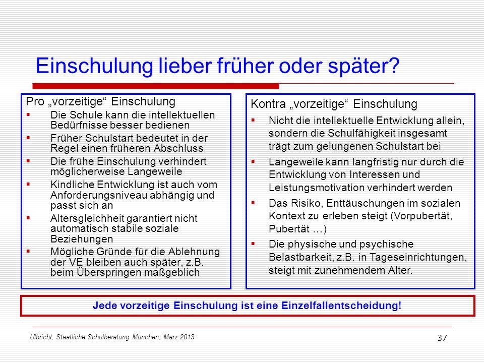 Ulbricht, Staatliche Schulberatung München, März 2013 37 Einschulung lieber früher oder später? Pro vorzeitige Einschulung Die Schule kann die intelle
