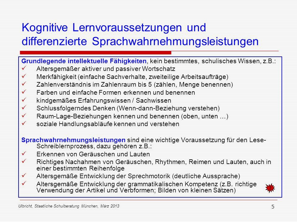Ulbricht, Staatliche Schulberatung München, März 2013 5 Kognitive Lernvoraussetzungen und differenzierte Sprachwahrnehmungsleistungen Grundlegende int