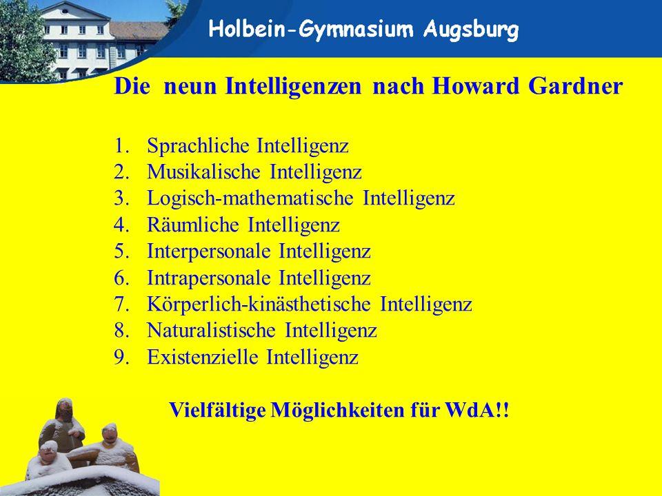 Die neun Intelligenzen nach Howard Gardner 1.Sprachliche Intelligenz 2.Musikalische Intelligenz 3.Logisch-mathematische Intelligenz 4.Räumliche Intell