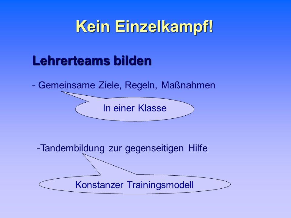 Kein Einzelkampf! Lehrerteams bilden - Gemeinsame Ziele, Regeln, Maßnahmen -Tandembildung zur gegenseitigen Hilfe In einer Klasse Konstanzer Trainings