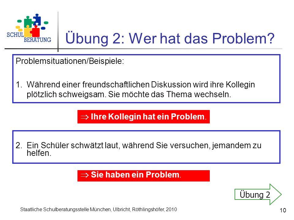 Staatliche Schulberatungsstelle München, Ulbricht, Röthlingshöfer, 2010 10 Übung 2: Wer hat das Problem? Problemsituationen/Beispiele: 1.Während einer