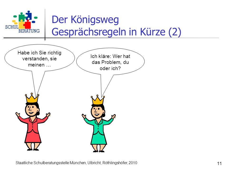 Staatliche Schulberatungsstelle München, Ulbricht, Röthlingshöfer, 2010 11 Ich kläre: Wer hat das Problem, du oder ich? Habe ich Sie richtig verstande