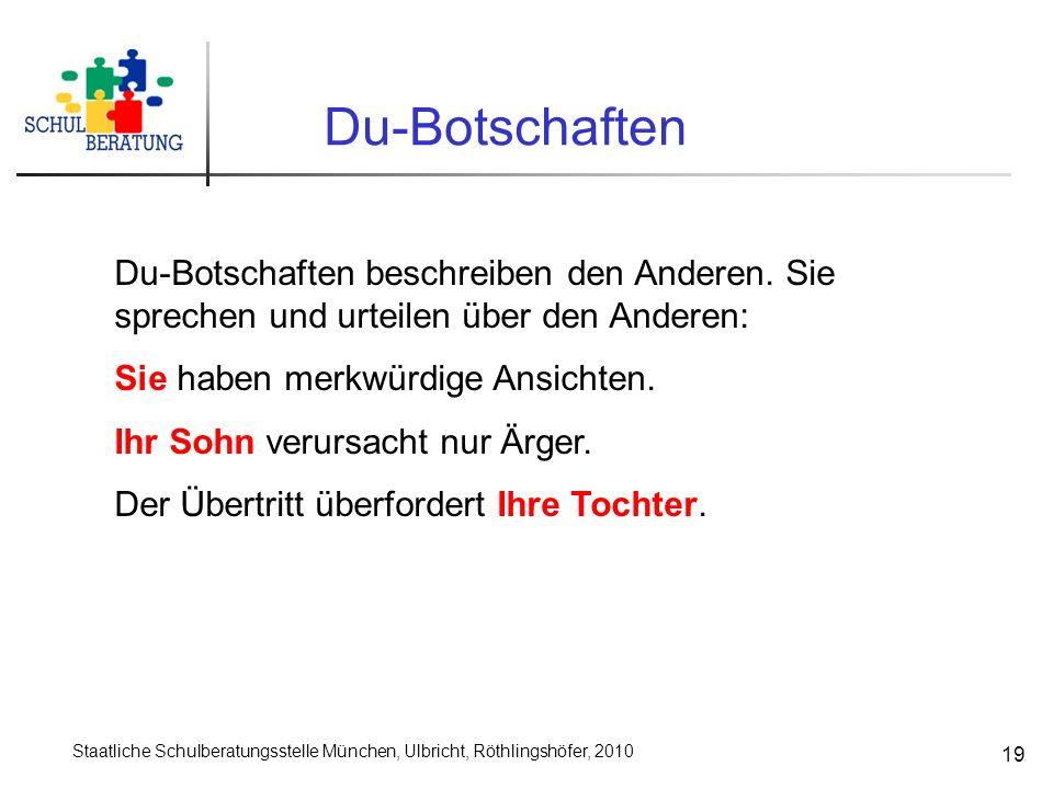 Staatliche Schulberatungsstelle München, Ulbricht, Röthlingshöfer, 2010 19 Du-Botschaften Du-Botschaften beschreiben den Anderen. Sie sprechen und urt