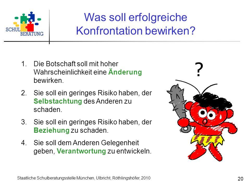 Staatliche Schulberatungsstelle München, Ulbricht, Röthlingshöfer, 2010 20 Was soll erfolgreiche Konfrontation bewirken? ? 1.Die Botschaft soll mit ho