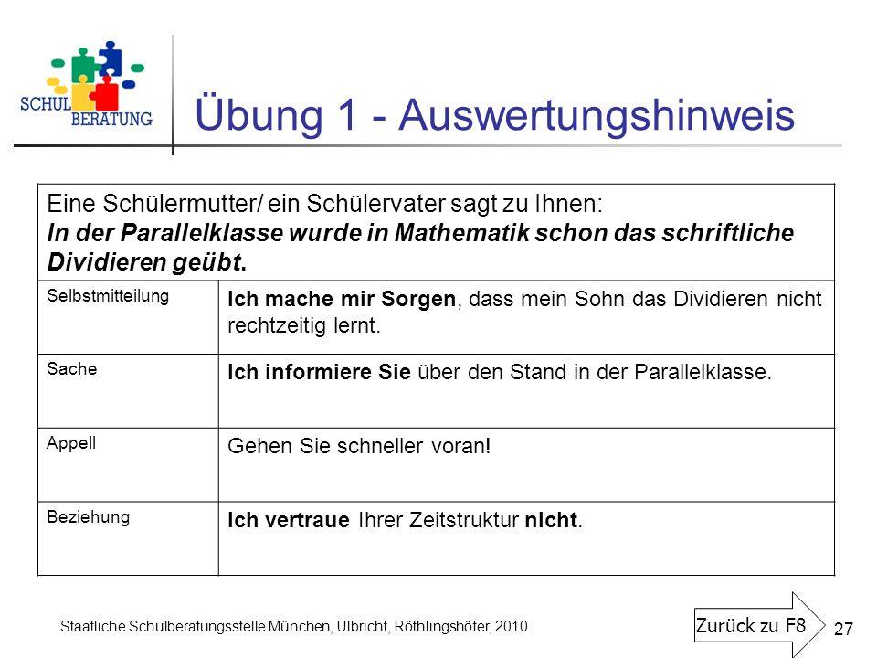 Staatliche Schulberatungsstelle München, Ulbricht, Röthlingshöfer, 2010 27 Übung 1 - Auswertungshinweis Eine Schülermutter/ ein Schülervater sagt zu I