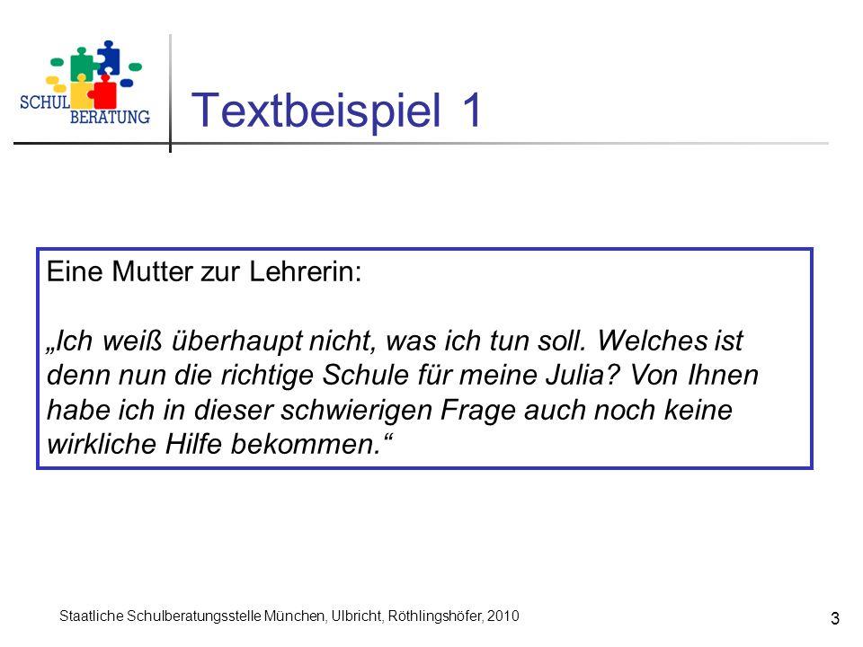 Staatliche Schulberatungsstelle München, Ulbricht, Röthlingshöfer, 2010 3 Textbeispiel 1 Eine Mutter zur Lehrerin: Ich weiß überhaupt nicht, was ich tun soll.