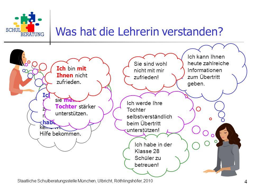 Staatliche Schulberatungsstelle München, Ulbricht, Röthlingshöfer, 2010 4 Von Ihnen habe ich in dieser schwierigen Frage auch noch keine wirkliche Hilfe bekommen.