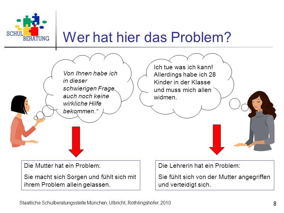 Staatliche Schulberatungsstelle München, Ulbricht, Röthlingshöfer, 2010 8 Wer hat hier das Problem? Von Ihnen habe ich in dieser schwierigen Frage auc