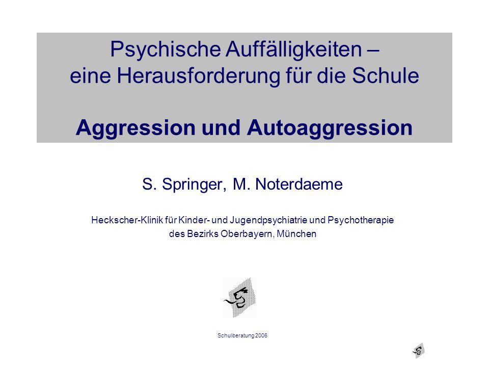 Psychische Auffälligkeiten – eine Herausforderung für die Schule Aggression und Autoaggression S. Springer, M. Noterdaeme Heckscher-Klinik für Kinder-