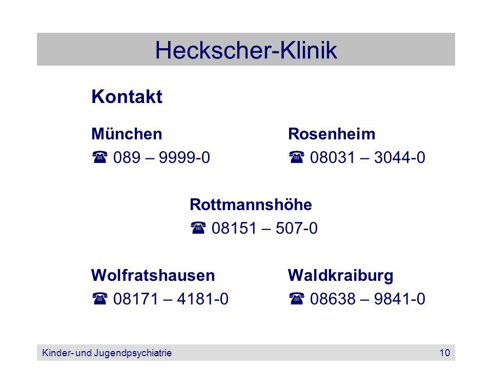Kinder- und Jugendpsychiatrie10 Heckscher-Klinik Kontakt MünchenRosenheim 089 – 9999-0 08031 – 3044-0 Rottmannshöhe 08151 – 507-0 WolfratshausenWaldkr