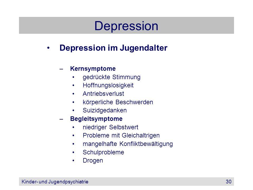 Kinder- und Jugendpsychiatrie30 Depression Depression im Jugendalter –Kernsymptome gedrückte Stimmung Hoffnungslosigkeit Antriebsverlust körperliche B