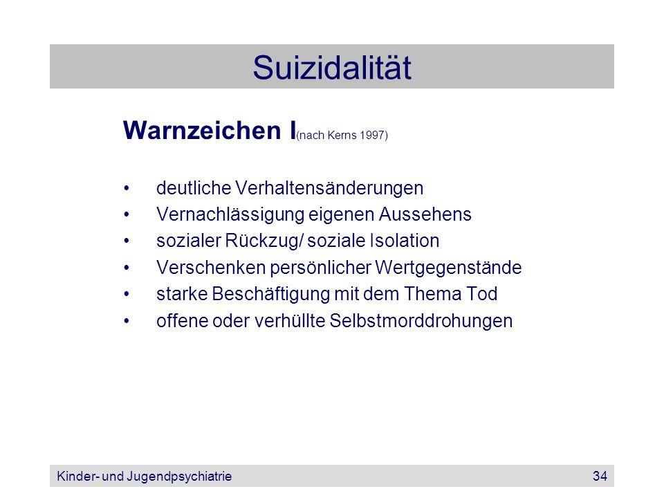 Kinder- und Jugendpsychiatrie34 Suizidalität Warnzeichen I (nach Kerns 1997) deutliche Verhaltensänderungen Vernachlässigung eigenen Aussehens soziale