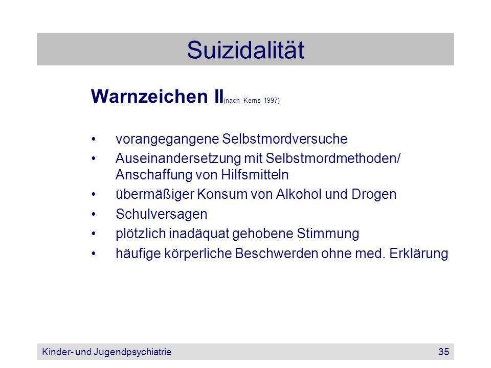 Kinder- und Jugendpsychiatrie35 Suizidalität Warnzeichen II (nach Kerns 1997) vorangegangene Selbstmordversuche Auseinandersetzung mit Selbstmordmetho