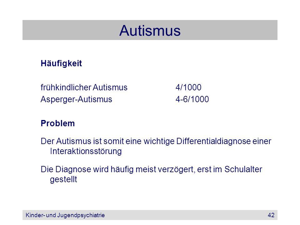 Kinder- und Jugendpsychiatrie42 Autismus Häufigkeit frühkindlicher Autismus4/1000 Asperger-Autismus4-6/1000 Problem Der Autismus ist somit eine wichti
