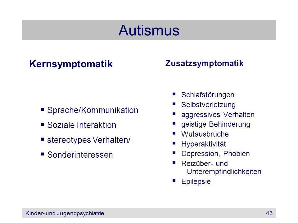 Kinder- und Jugendpsychiatrie43 Autismus Zusatzsymptomatik Schlafstörungen Selbstverletzung aggressives Verhalten geistige Behinderung Wutausbrüche Hy