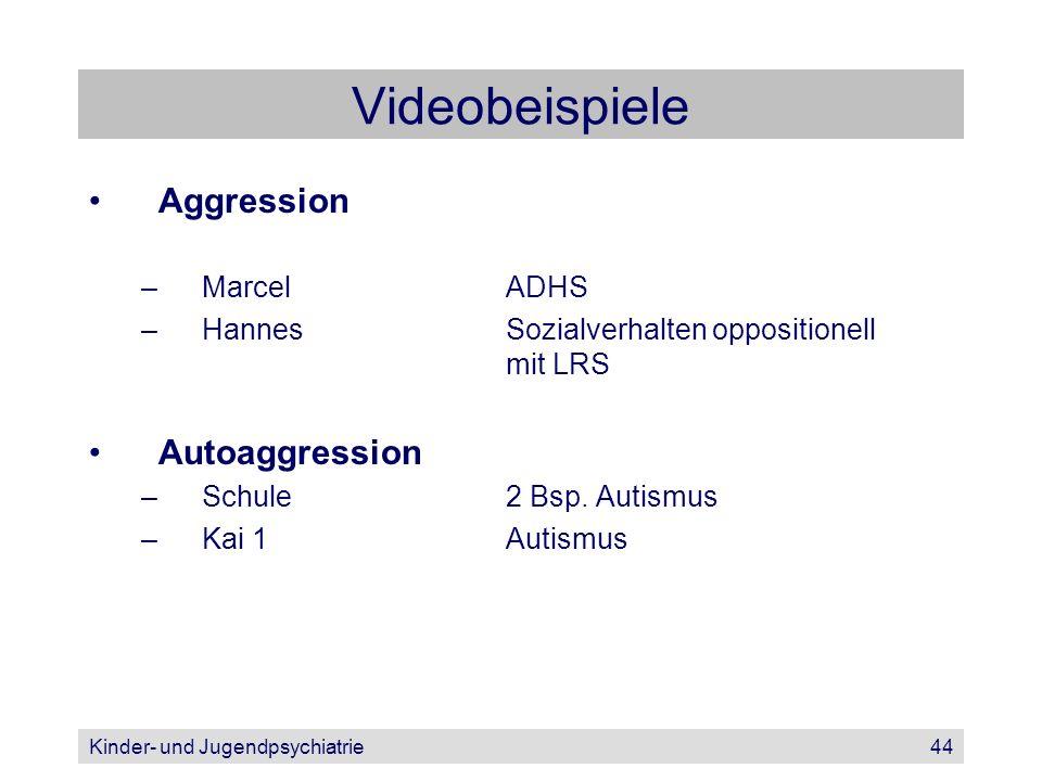 Kinder- und Jugendpsychiatrie44 Videobeispiele Aggression –MarcelADHS –HannesSozialverhalten oppositionell mit LRS Autoaggression –Schule2 Bsp. Autism