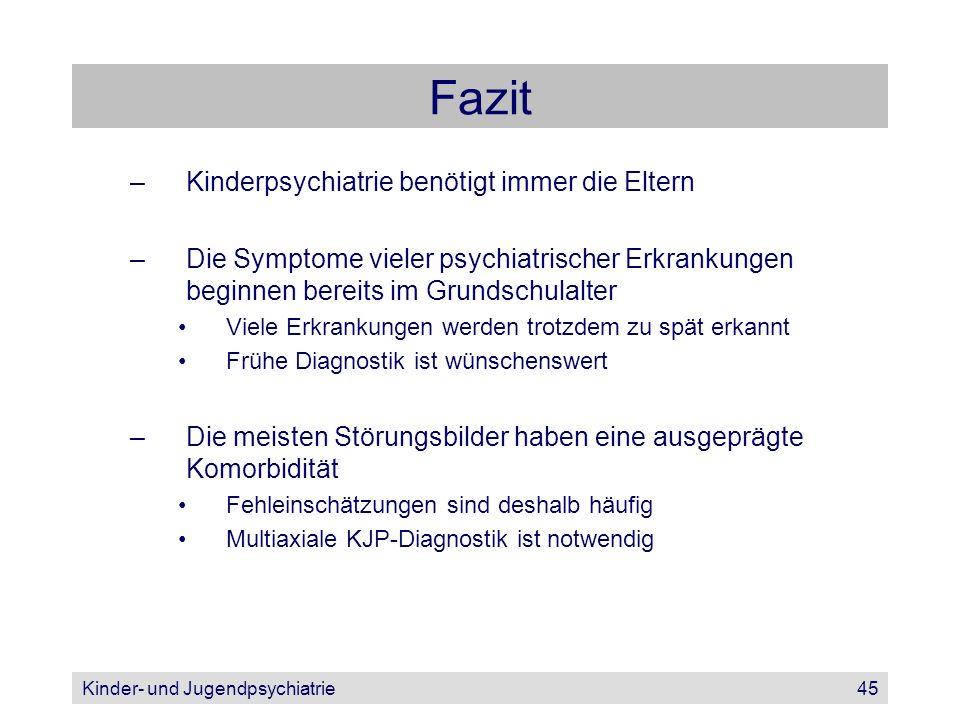 Kinder- und Jugendpsychiatrie45 Fazit –Kinderpsychiatrie benötigt immer die Eltern –Die Symptome vieler psychiatrischer Erkrankungen beginnen bereits