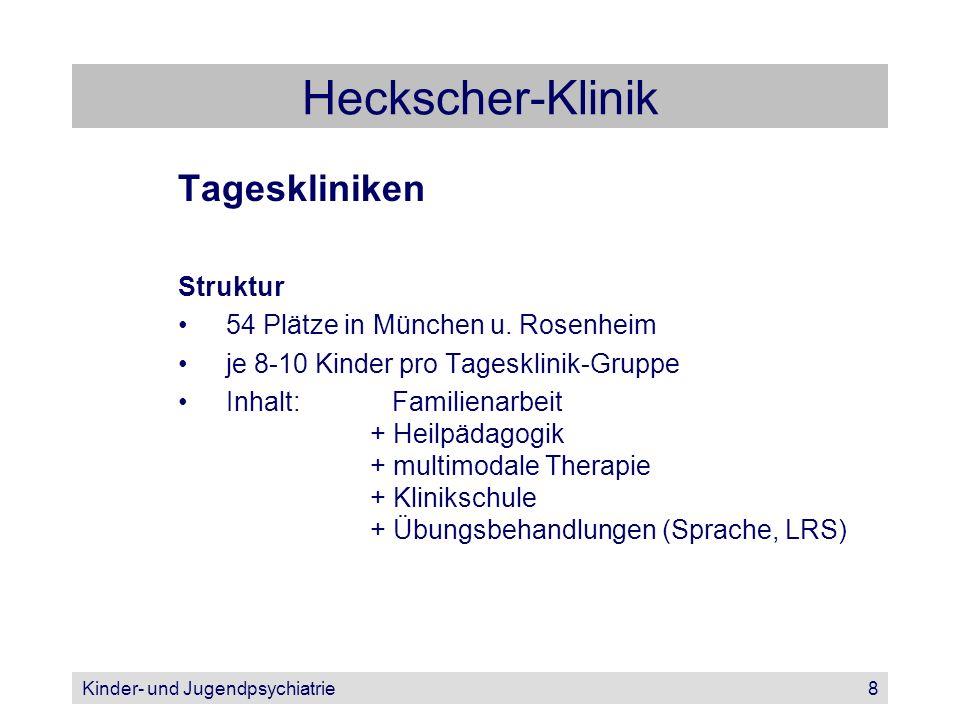 Kinder- und Jugendpsychiatrie8 Heckscher-Klinik Tageskliniken Struktur 54 Plätze in München u. Rosenheim je 8-10 Kinder pro Tagesklinik-Gruppe Inhalt: