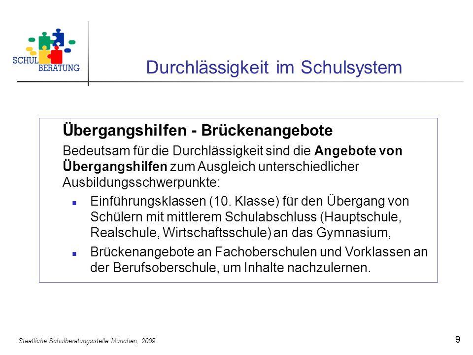 Staatliche Schulberatungsstelle München, 2009 9 Durchlässigkeit im Schulsystem Übergangshilfen - Brückenangebote Bedeutsam für die Durchlässigkeit sind die Angebote von Übergangshilfen zum Ausgleich unterschiedlicher Ausbildungsschwerpunkte: Einführungsklassen (10.