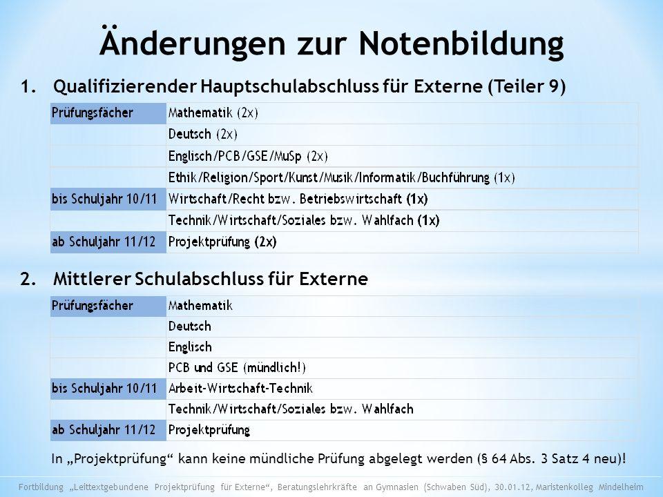 Änderungen zur Notenbildung 1. Qualifizierender Hauptschulabschluss für Externe (Teiler 9) 2. Mittlerer Schulabschluss für Externe In Projektprüfung k