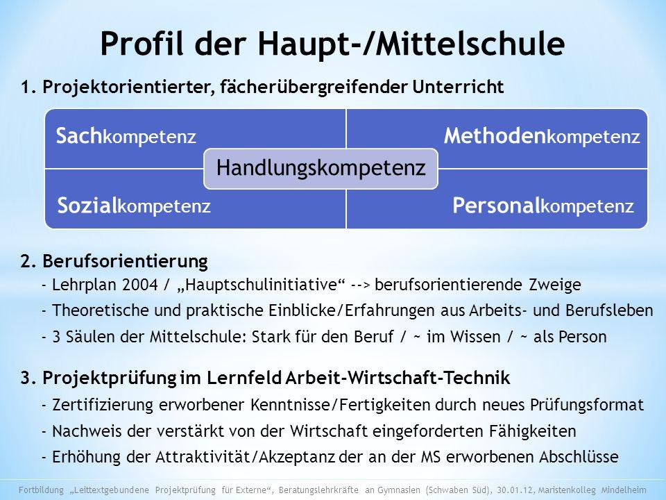Profil der Haupt-/Mittelschule Sach kompetenz Methoden kompetenz Sozial kompetenz Personal kompetenz Handlungskompetenz 1. Projektorientierter, fächer