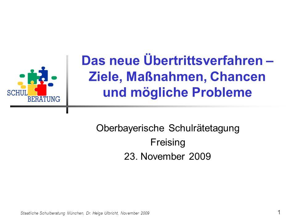Staatliche Schulberatung München, Dr. Helga Ulbricht, November 2009 12 Anlagen