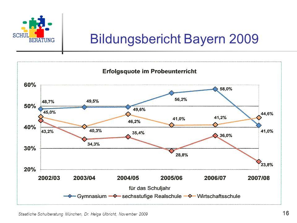 Staatliche Schulberatung München, Dr. Helga Ulbricht, November 2009 16 Bildungsbericht Bayern 2009