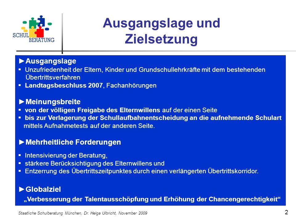 Staatliche Schulberatung München, Dr. Helga Ulbricht, November 2009 13 Bildungsbericht Bayern 2009