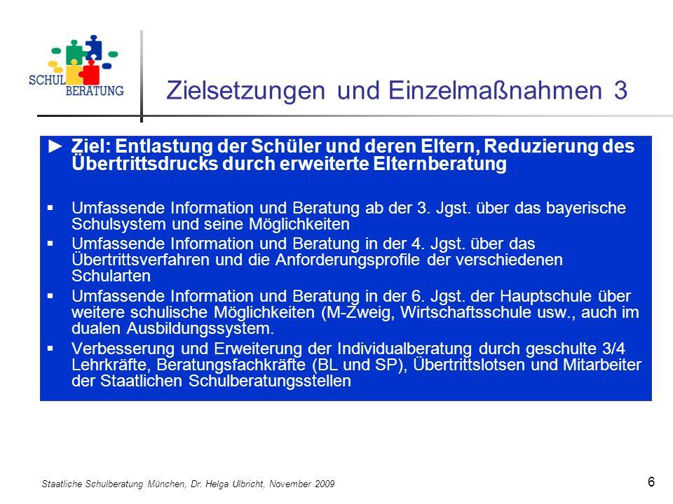 Staatliche Schulberatung München, Dr. Helga Ulbricht, November 2009 17 Bildungsbericht Bayern 2009