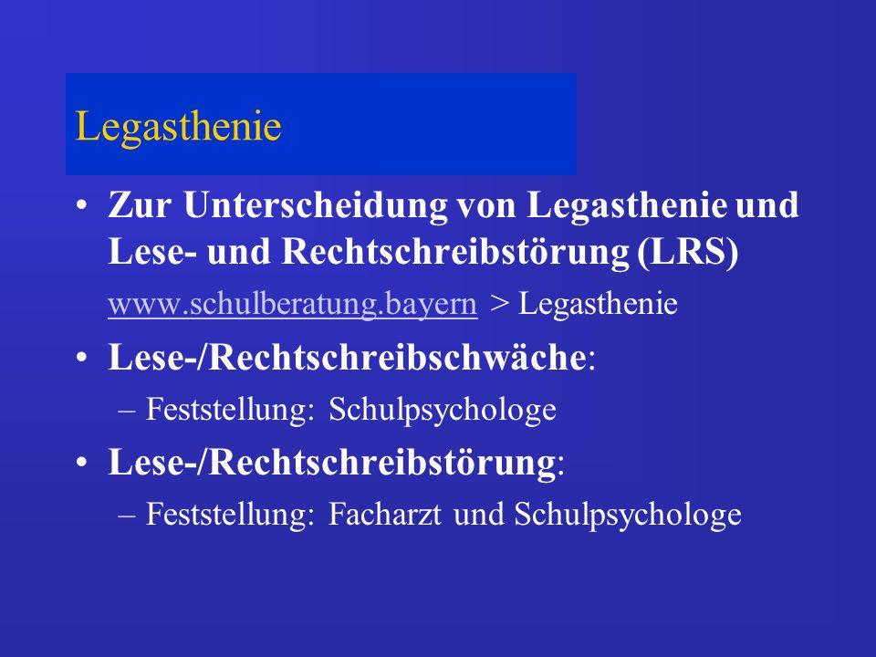 Legasthenie Zur Unterscheidung von Legasthenie und Lese- und Rechtschreibstörung (LRS) www.schulberatung.bayernwww.schulberatung.bayern > Legasthenie
