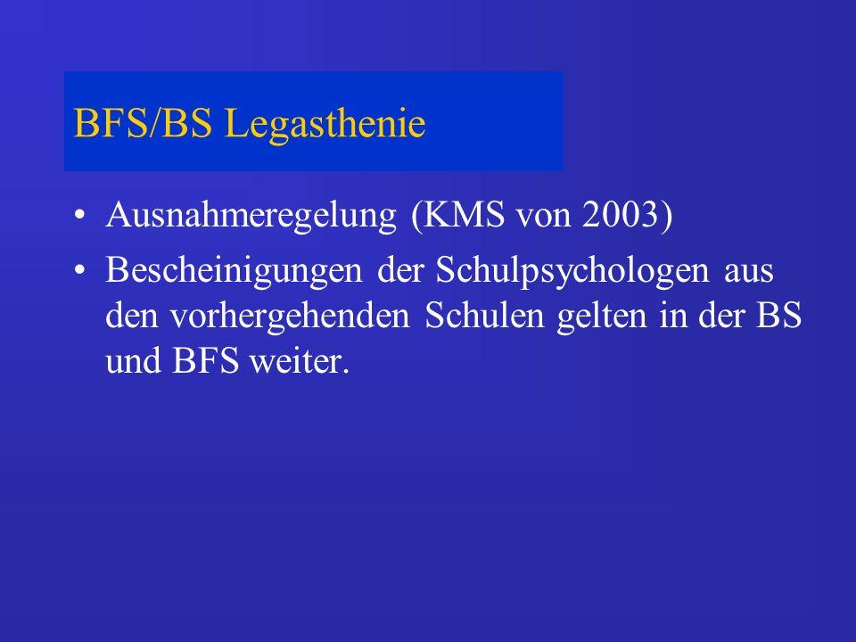 BFS/BS Legasthenie Ausnahmeregelung (KMS von 2003) Bescheinigungen der Schulpsychologen aus den vorhergehenden Schulen gelten in der BS und BFS weiter